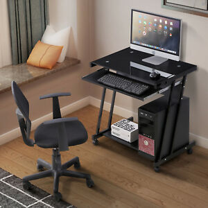 Mecor Pc Computer Desk Laptop Workstation Furniture 4 Wheels Roll Home Office