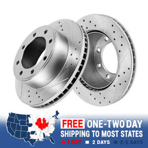 Front Drilled And Slotted 8 Lug Brake Disc Rotors For Ford F250 F350 4x4 4wd