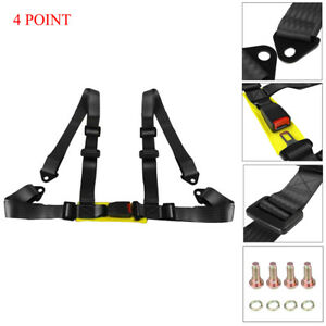 1x 4 Point Car Buckle Racing Seat Belt Harness Universal Black Adjustable