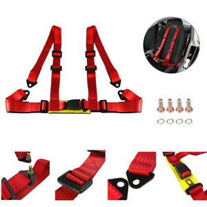 1x 4 Point Red Car Buckle Racing Seat Belt Harness Universal Adjustable Us Stock