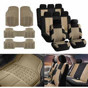 3 row Suv Van Beige Seat Covers 8 Seaters W Beige Floor Mats