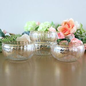 Antique Bohemian Gold Crystal Dessert Bowl Set