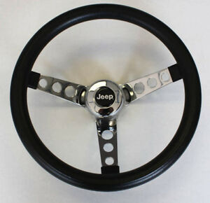 New 1976 95 Jeep Cj5 Cj7 Yj Classic Grant Black Steering Wheel 13 1 2 Horn Kit