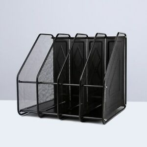 Mesh Metal Desktop Organizer 4 Compartments File Document Magazine Rack For Home