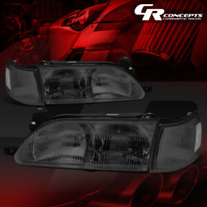 Smoked Housing Clear Side Front Bumper Headlight Lamps For 93 97 Toyota Corolla