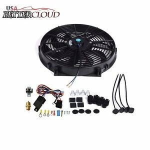 14 Inch Electric Radiator Cooling Fan 3 8 Probe Ground Thermostat Switch Kit