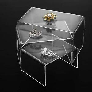 Set Of 3 Clear Acrylic Risers Jewelry Display Riser Stands 5 6 7