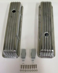 Chevrolet Sbc Retro Finned Aluminum Tall Valve Covers 283 327 350 383 400 Chevy