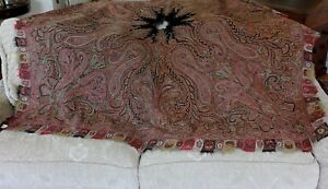 Antique Hand Embroidered Wool Paisley Kashmir Shawl C1840 1850 64 Lx68 W