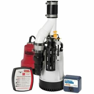 Sump Pump System 1 3 Hp Emergency Backup Submersible Unit battery Not Included