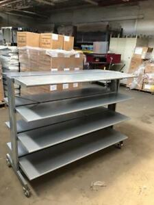 Tier Display Tables Upscale Metal Folding Rolling Industrial Used Store Fixtures