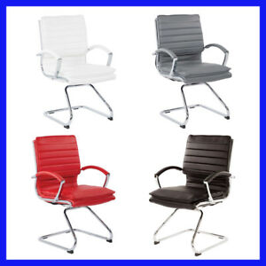 no Tax Langston Vinyl Guest Chair Chrome Finish Sled Base 4 Color