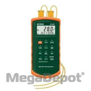 Extech 421502 Dual Input Thermometer With Alarm Type J k