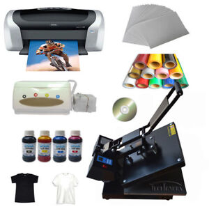 Flat Heat Press Machine Epson Printer Inkjet Paper Ink Ciss T shirts Vinyl Cd