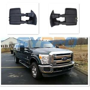 For 99 16 Ford F250 Super Duty Extand Towing Manual Mirrors Smoke Lense Signal