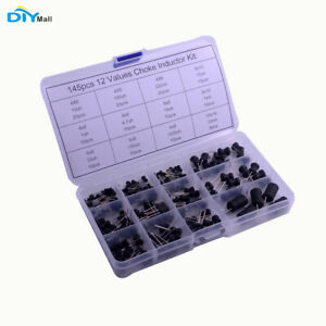145pcs Inductor Choke Assorted Kit 12values 10uh 10mh With Plastic Box
