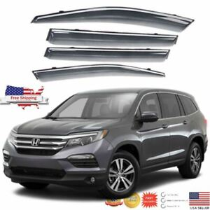 Fit 2016 20 Honda Pilot Chrome Trim Wv Window Visor Rain sun Vent Guard Shade