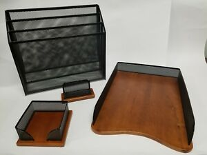 Wood Mesh Desk Accessories Organizer Set 4 Pieces Files Tray Cards Note