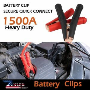 2pcs Heavy Duty Pickup Battery Clips Charger Jumper Cable 1500a Clamp Mounting