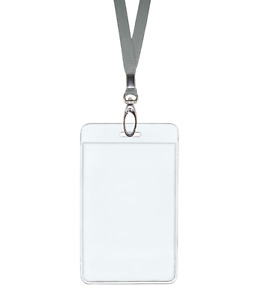 Silver Grey Id Lanyard Neck Strap Cord Clip Vertical Badge Tag Card Holder Pouch