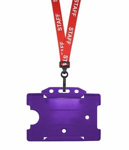 Red Staff Id Neck Strap Cord Lanyard Plastic Clip Purple Card Badge Pass Holder