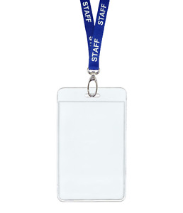 Blue Staff Id Lanyard Neck Strap Metal Clip Vertical Badge Tag Card Holder Pouch