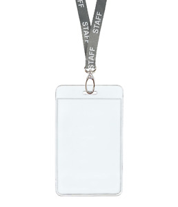 Silver Grey Staff Id Lanyard Neck Strap Clip Vertical Badge Card Holder Pouch