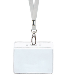 White Id Lanyard Neck Strap Cord Clip And Horizontal Badge Tag Card Holder Pouch