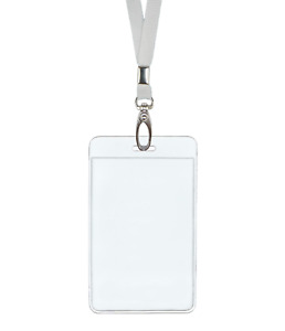 White Id Lanyard Neck Strap Cord Clip Vertical Badge Tag Card Holder Clear Pouch