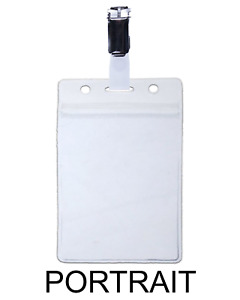 Clear Id Vertical Pouch Card Badge Pass Wallet Visitor Holder Metal Clasp Clip