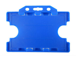 Light Blue Double Sided Id Staff Pass Card Holder Landscape Dual Badge Plastic