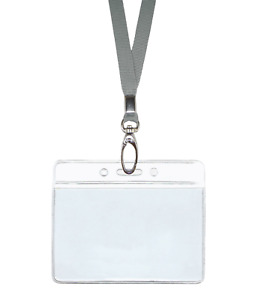 Silver Grey Id Lanyard Neck Strap Cord Clip Horizontal Badge Card Holder Pouch