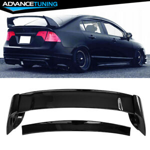 Fits 06 11 Honda Civic Sedan 4dr Mugen Trunk Spoiler Wing Glossy Black Abs