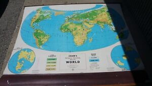 Cram S Simplified Physical Political Pull Down Map Of World 64l X 54 W When Out