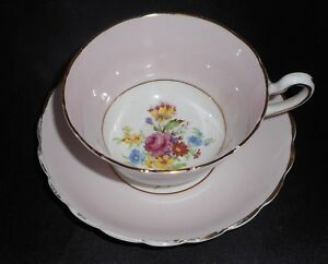 Dsplyd Vintage Rosina Pink Rose Floral Scalloped Fine Bone China Teacup Saucer