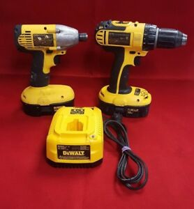 Dewalt Cordless Impact Driver And Drill Driver Set With 2 Batteries