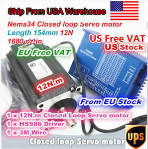 usa Nema34 12n m Hybrid Closed Loop Servo Motor 154mm 6a hss86 Driver Cnc Kit