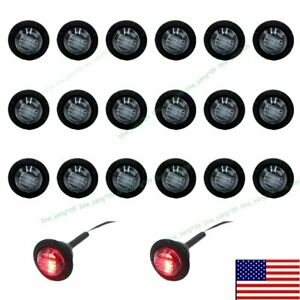 20x 12v Round Side Truck Marker 3 4 Red Clearance Black Smoked Len Led Light Us