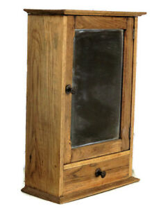 Vintage Hand Carved Sandblasted Kitchen Apothecary Small Wall Cabinet Mirror