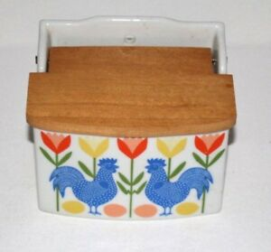Mid Century Danish Modern Scandinavian Art Flower Rooster Match Holder Ceramic