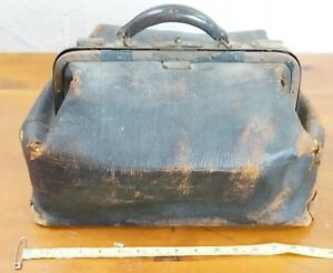 Antique Vintage Leather Valise Purse Cash Medical Train Bag Lunch Box Doctor