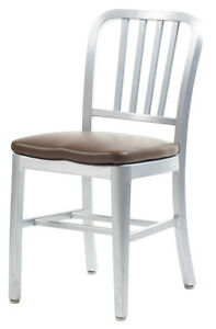 Set Of 2 Brushed Aluminum Navy Style Restaurant Dining Chair Cushioned Seat