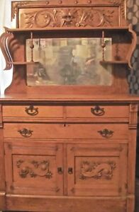 Rare Antique Sideboard Buffet Carved Quarter Sawn French Golden Oak 1800s Signed