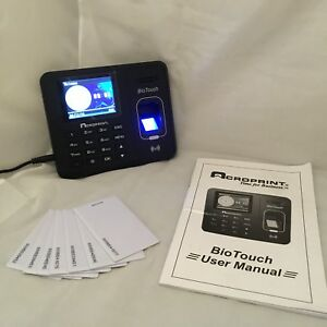 Acroprint 01 0276 000 Biotouch Time Clock Hh mm ss Fingerprint C w 7 Cards