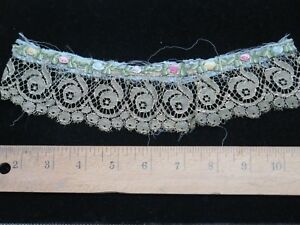 Antique French Silk Ribbonwork W Metallic Rose Lace Trim C1900 9 5 Lx2 W Dolls
