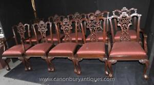 Set 10 Mahogany Chippendale Dining Chairs Ball And Claw Feet