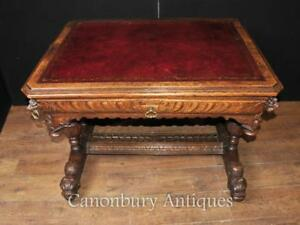 Antique 19th Century Carved Oak Library Table Desk Writing Table