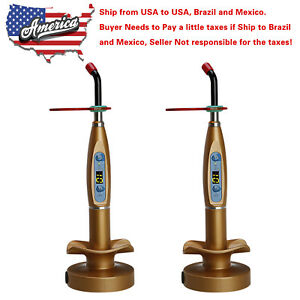 2 X Usa To Brazil Dental Wireless Cordless Led Curing Light Lamp Gold