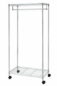 New Chrome 2 tier Rolling Clothing Garment Rack Shelving Wire Shelf Dress