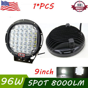 96w 9inch Black Spot Round Led Work Light Roof Bar Bumper Offroad Suv Jeep Truck